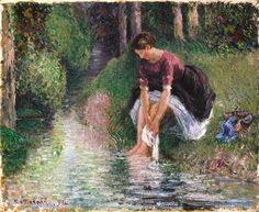 "Camille Pissaro (French, 1830-1903), ""Woman Washing Her Feet in a Brook,"" 1894; Indianapolis Museum of Art, Gift of George E. Hume, 48.17"