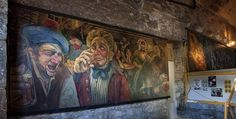 A small section of Chris Rutterford's Tam o'Shanter mural installed in the Arches in Edinburgh.
