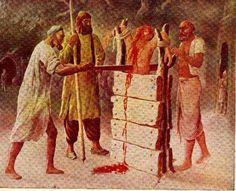 Bhai Mati Das Ji being put to death for not embracing Islam. Bhai Sahib Ji was arrested along with Guru Tegh Bahadur Sahib Ji when Guru Ji went to appeal on. Guru Granth Sahib Quotes, Shri Guru Granth Sahib, Best Quotes Wallpapers, Wallpaper Quotes, Baba Deep Singh Ji, Guru Tegh Bahadur, Sikh Quotes, Bhagat Singh, Trust God