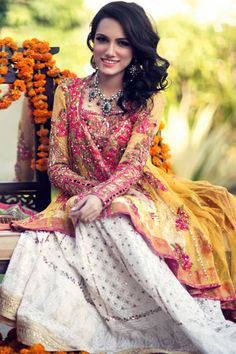 Mendhi Colours with a chikankari lengha by Farah Talib Aziz
