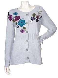 Denim & Co. Button Front Cardigan with Applique Detail (Small 6 8, Heather Grey) Denim & Co.. $29.33. Machine wash. Semi fitted. Applique flowers, leaves and vines. Ribbed detail