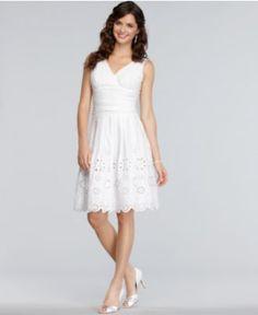 SL Fashions Dress, Sleeveless Ruched Eyelet A-Line - Womens Dresses - Macy's