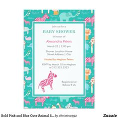 Bold Pink and Blue Cute Animal Safari Baby Shower 5x7 Paper Invitation Card