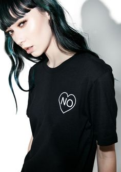 Witch Worldwide No Heart Baby Tee that's cute, thinking I would give you the time of day… Tell 'em off in this ultra cool tee, featurin' a cozy black construction and lil heart graphic on the chest that reads a resounding 'NO.'