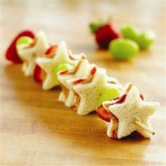 Peanut butter, fresh strawberries and some strawberry jam make cute kabobs when cut with a cute cookie cutter. Caution; sharp skewer! Supervise young children or remove from skewer before serving.