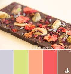 berries and chocolate color palette   strawberry, lavender, green, brown