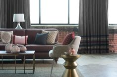 Dressed in a palette of dusty purples and soothing neutrals, Trend's latest collections include a mix of small-scaled patterns and textural fabrics. Trend Fabrics, Dusty Purple, Drapery Hardware, Custom Fabric, Living Rooms, Create Your Own, Palette, Design Ideas, Collections