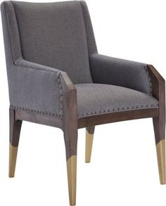 Tate Arm Chair with Gilded Legs from the Hable for Hickory Chair™ collection by Hickory Chair Furniture Co. Accent Chairs For Living Room, Dinning Chairs, Upholstered Dining Chairs, Table And Chairs, Patio Chair Cushions, Sofa Chair, Furniture Upholstery, Dining Furniture, Hickory Chair