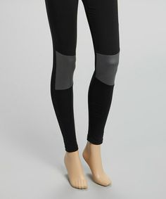 Another great find on #zulily! Black Faux Leather Equestrian Panel Leggings by Via Spiga #zulilyfinds