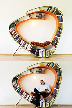 unknown - this is so cool! a bookcase in a relaxing reading chair, and it also looks great! showing your books, doesn't take too much space and the shape is cool. The bright colors give your interior a fresh look. Great idea!! #ReadingChair