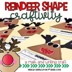 Reindeer Shape Craft by Saddle Up For Grade Math Crafts, Preschool Crafts, Crafts For Kids, Reindeer Bulletin Boards, Teaching Kindergarten, Kindergarten Christmas, Christmas Maths, Christmas Books, Christmas Decorations For Kids