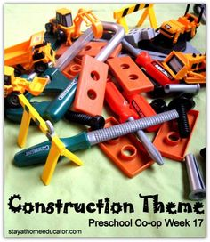 Construction theme preschool unit from Stay at Home Educator