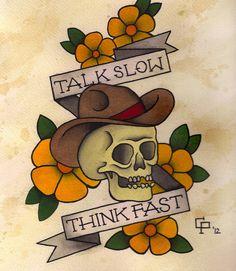traditional tattoo flash - skull talk slow