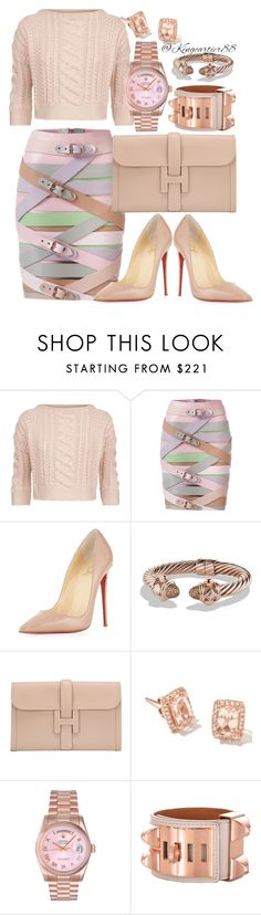 """""""Class Is In Session"""" by hitmaker ❤ liked on Polyvore featuring Weekend Max Mara, Marina Hoermanseder, Christian Louboutin, David Yurman, Hermès and Rolex"""