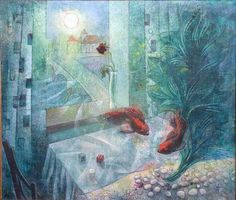Igor Holas - Aquarium, 2012, oil on canvas, 91x85cm, www.igorholas.cz