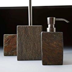 Accessoires salle de bains (3 modèles) polyrésine effet ardoise