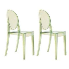 Green Philippe Starck Ghost Chairs - A Pair - $660 Est. Retail - $250 on Chairish.com