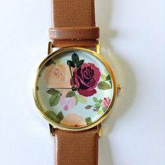 Watch floral, Rose, Vintage Style montre, victorien, montre cuir, montre des femmes, sur Etsy, $10.89 CAD
