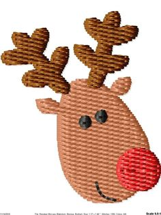 Christmas Reindeer Machine Embroidery Design Mini