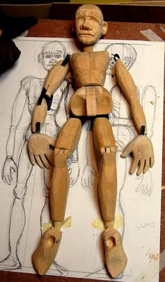 Jointed wooden puppet (unfinished) made by Jonny Dixon on the John Roberts carving course at the Little Angel Theatre, London in July Puppet Toys, Marionette Puppet, Wooden Puppet, Wooden Dolls, Paper Dolls, Art Dolls, Puppetry Arts, Drive In, Pinocchio