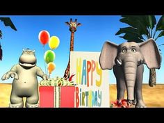 """Happy Birthday song with Funny cartoon Animals. Animals give presents, dance and sing Happy Birthday to you! Share the short birthday greetings from """"video p. Happy Birthday Ballons, Happy Birthday Wishes Messages, Happy Birthday Funny Humorous, Funny Happy Birthday Images, Happy Birthday Video, Cute Happy Birthday, Birthday Songs, Birthday Wishes Funny, Singing Happy Birthday"""
