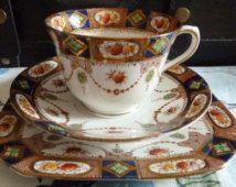 "Royal Albion  ""Sandon"" Imari Style Tea For One Trio 1920's Vintage"