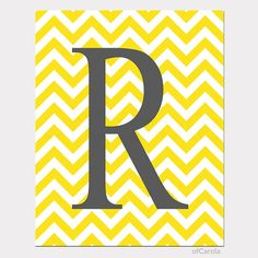 Chevron Baby Nursery Initial Print Wall Art Yellow White Gray Initial Letter - PERSONALIZE -  Monogram Child Room Decor ofCarola 8x10 inch on Etsy, $15.00