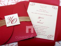 Wedding Invitation Red and Gold / Invitacion de Bodas Rojo y Dorado