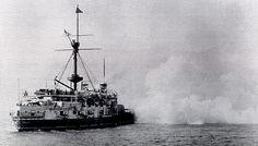 HMS VICTORIA firing main (16-inch) guns.