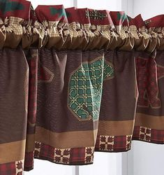 Finely Stitched Window Treatments Valance Curtains Tab Top 84 Inch Wide 100% Polyester Rustic Design Cabin Lodge Bear Wilderness Wildlife Washable - Window Valance with Bear prints for a Lake or Mountain bedroom decor