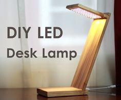 This cool desk lamp is made with LED strip lights and maple. It features a very simple design where the wood is really in focus and has a remote control that attaches to the back of the lamp. This lamp would be great in a lot of different settings, and of course you could use whatever wood you have on hand.