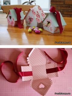 Paper Birdhouse! Fill with candy and treats for Easter, Valentine's Day, Mother's Day, Christmas... change the paper to fit the occasion! LOVE!