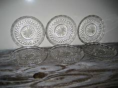 Vintage Set of Six Pressed Glass Coasters by DianesStuffForYou, $22.00