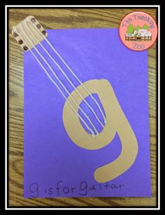 g is for guitar. Letter of the Week G activities on The Teaching Zoo blog!