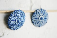 Vintage Cobalt Blue and White Floral Clip-On Earrings by MallardVintage, $10.00