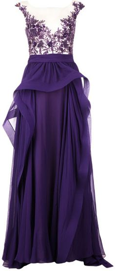 Reem Acra Frilled Evening Gown in Purple (pink  purple) - Lyst     jaglady