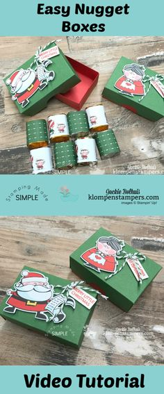 Easy to Make Nugget Boxes Video Tutorial + Diagrams to make these adorable little Nugget boxes. Jackie Bolhuis, Klompen StampersVideo Tutorial + Diagrams to make these adorable little Nugget boxes. Christmas Gift Box, Handmade Christmas Gifts, Stampin Up Christmas, Holiday Gifts, Homemade Christmas, Handmade Gifts, Candy Crafts, Christmas Projects, Christmas Crafts