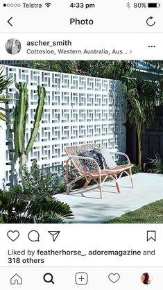 A simple way to create a backdrop to outdoor spaces. A simple way to create a backdrop to outdoor spaces. Outdoor Rooms, Outdoor Gardens, Outdoor Living, Outdoor Decor, Breeze Block Wall, Decks, Cinder Block Garden, Beach Signs, Backyard Landscaping