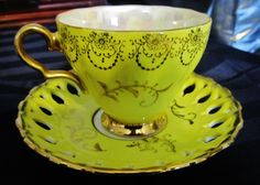 Vintage Bright Yellow Delicate Tea Cup and Saucer.. Filigree Edge - Royal Sealy picclick.com