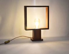 Design table lamp in tropical wood , minimalist design, LED bulb type Edison, made in France by Lune et Animo