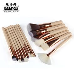 15 Pcs Complete Makeup Brushes Set Professional Luxury Set Make Up Tools only $10