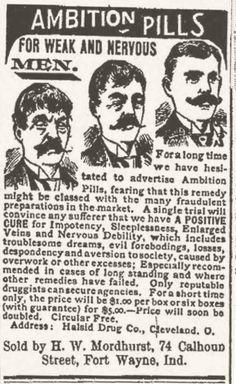 Píldiras para la ambición, de 1896. Para los hombres pusilánimes. En mi opinion causal de divorcio inmediato si tu esposa te lo regala.