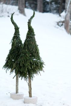 easy DIY Xmas trees w/ extra branches of pine trees. looks like grinch hat. Grinch Christmas, Merry Little Christmas, Christmas Love, Outdoor Christmas, Rustic Christmas, Winter Christmas, Christmas Crafts, Whimsical Christmas, Theme Noel