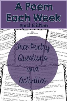 April A Poem Each Week. Free poetry resources: questions and activities to engage readers.