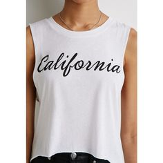 Forever21 California Muscle Tee ($15) ❤ liked on Polyvore featuring tops, tops and outerwear, cut off tank top, graphic tanks, muscle t shirts, forever 21 and forever 21 tops