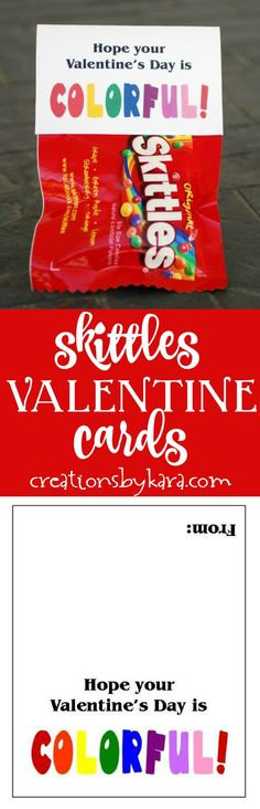 These printable Valentine cards are so cute taped to a mini bag of Skittles. Just perfect for classroom Valentines!