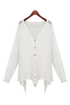 Love! Love! LOVE! Lightweight HiLo Hem White V-neck Long Sleeves Cardigan Sweater! #HiLo #Hem #Cardigan #Sweater #Fashion