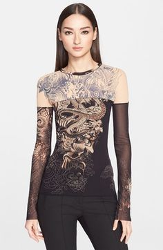 Jean Paul Gaultier Tattoo Print Tulle Top (Nordstrom Exclusive) available at #Nordstrom