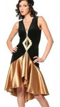 plus size costume s-3xl Puttin' on the Ritz 20's Flapper Black Gold Dress Up Halloween Adult Costume free shipping