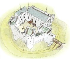 Reconstruction of Grosmont Castle, Monmouthshire. Also (historically) called Grisemount and Grisemond, this little castle was built in the 13th Century and extended in the 14th Century.
